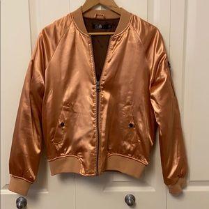 Metallic Bronze Bomber Jacket